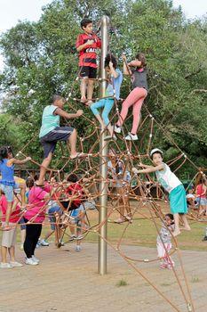 Sao Paulo, Brazil, July 18 2015: Unidentified kids in popular amusement park in Ibirapuera Park in Sao Paulo Brazil.
