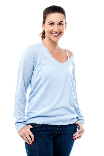 Middle aged woman posing casual wear