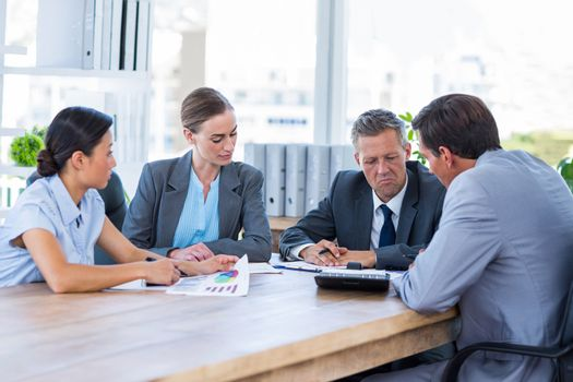 Thoughtful business people during meeting