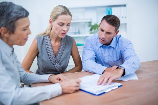 A business team brainstorming together