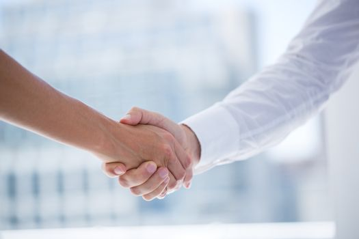 Close up view of two business people shaking hands