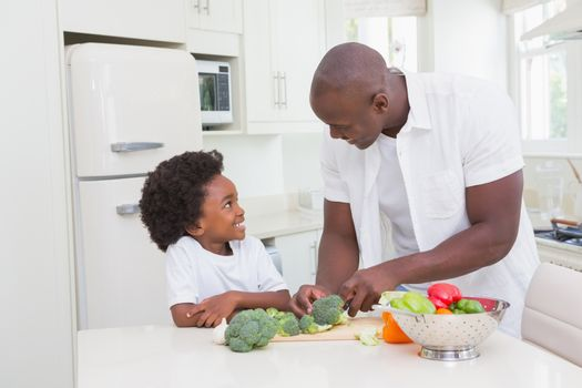 Little boy cooking with his father
