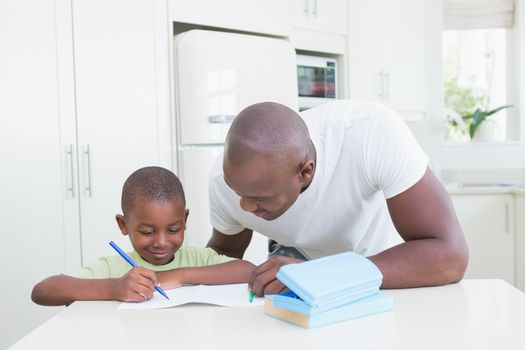Father with his son working