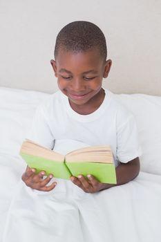 Pretty littel boy reading in bed