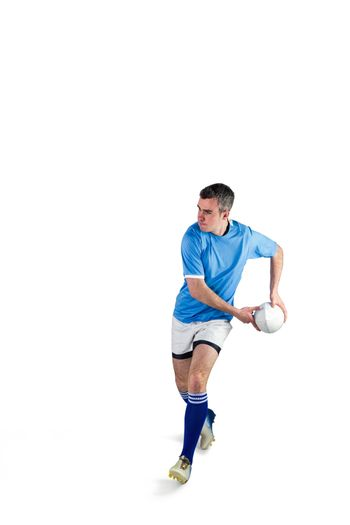 Rugby player doing a side pass