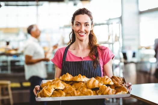 Baker showing tray of fresh croissant