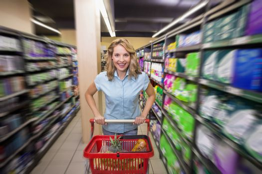 Portrait of a smiling woman is aisle with her trolley