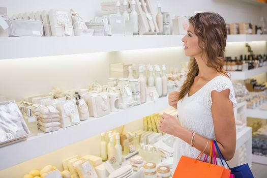 Smiling woman browsing products