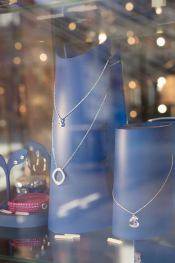 Necklace behind glass