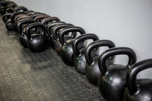 Weights lined at the wall