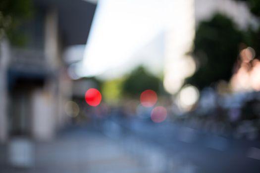 A blurry street scene