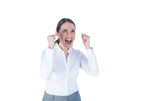 Businesswoman cheering and yelling