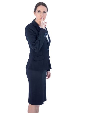 Pretty businesswoman asking for silence