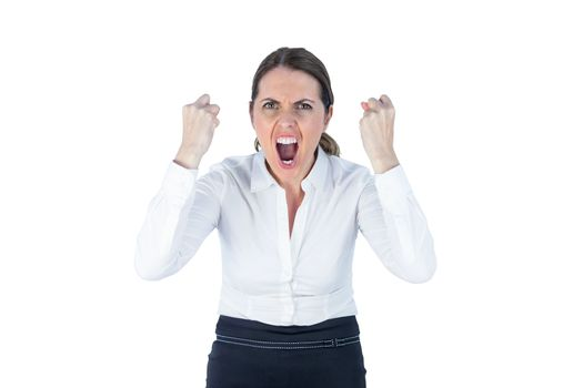 Angry yelling businesswoman