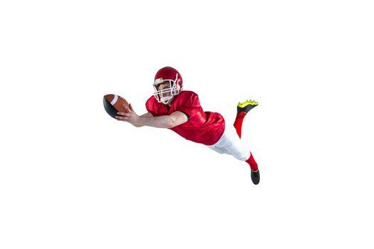 American football player scoring a touchdown