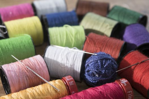 colored skeins of thread to sew