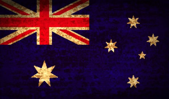 Flags of Australia with dirty paper texture. Vector illustration