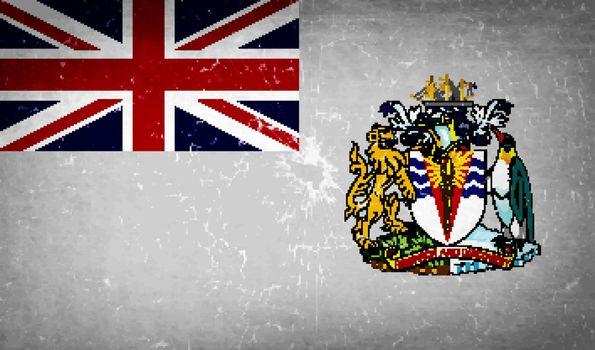Flags British Antarctic Territory with broken glass texture. Vector