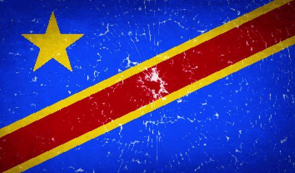 Flags Congo Democratic Republic with broken glass texture. Vector