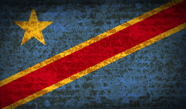 Flags Congo Democratic Republic with dirty paper texture. Vector