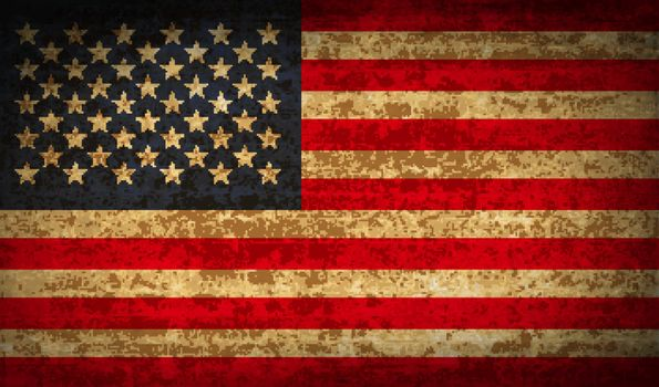 Flags USA with dirty paper texture. Vector