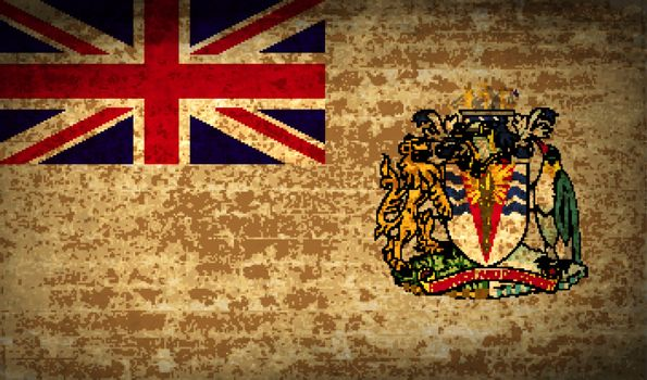 Flags British Antarctic Territory with dirty paper texture. Vector