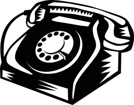 Telephone Vintage Woodcut