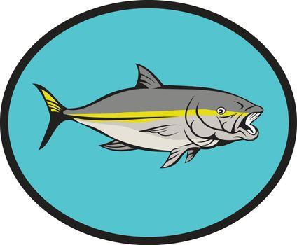 Yellowtail Kingfish Oval Cartoon