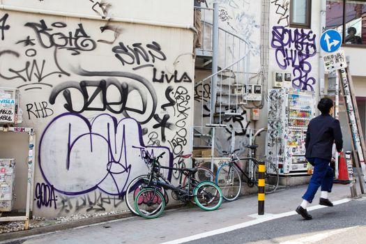 Bumper stickers and graffiti on the street,Harajuku