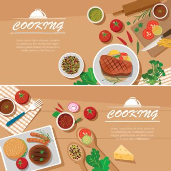 cooking banner flat design template