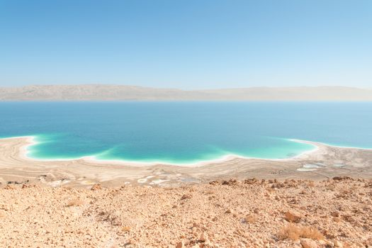 Exotic landscape Dead Sea shoreline aerial view with mountains r
