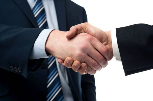 Cropped image of businessmen handshaking over white