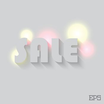 The inscription SALE on a grey background paper. Vector illustration