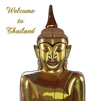 thai gold buddha meditation on a white background. Vector EPS