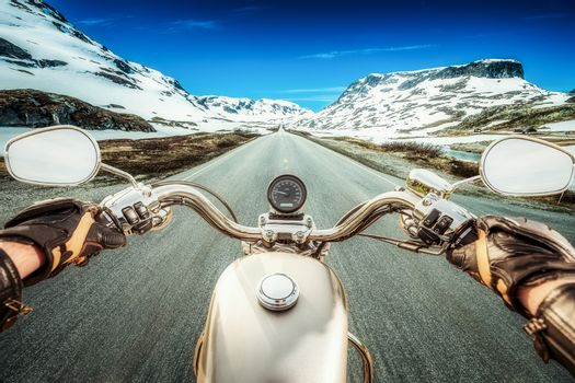 Biker First-person view, mountain pass in Norway