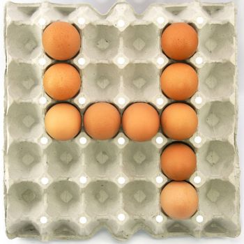 Number four of eggs in the paper package tray