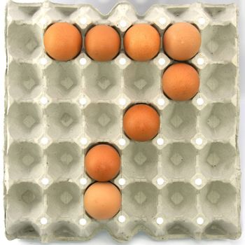 Number seven of eggs in the paper package tray
