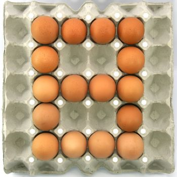 Number eight of eggs in the paper package tray