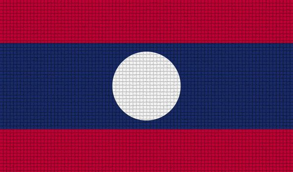 Flags Laos with abstract textures. Rasterized