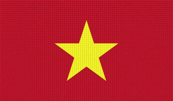Flags Vietnam with abstract textures. Rasterized