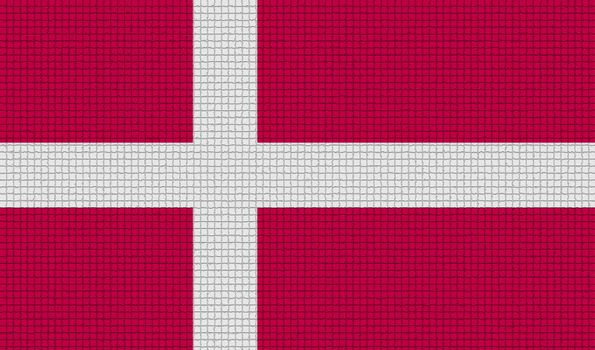 Flags Denmark with abstract textures. Rasterized