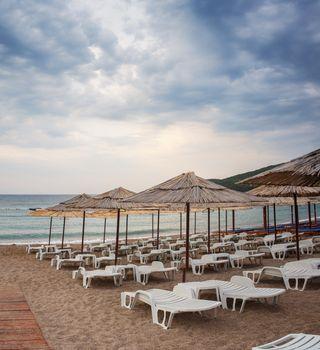 Jaz beach in morning. Budva, Montenegro