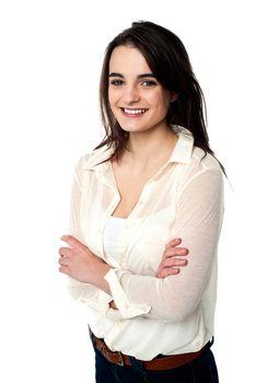 Confident teen girl over white