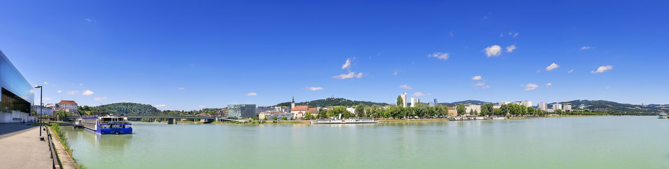 Panorama of Linz with Danube