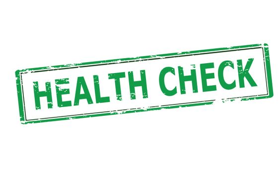 Rubber stamp with text health check inside, vector illustration