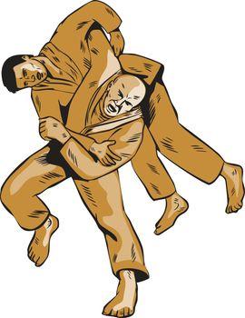 Judo Combatants Throw Front Etching