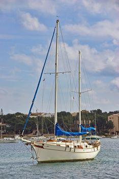 White Mediterranean Sailboat in Majorca (Spain)