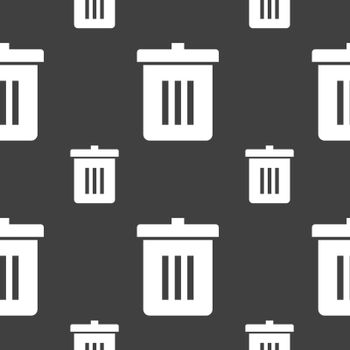 Recycle bin, Reuse or reduce icon sign. Seamless pattern on a gray background. Vector