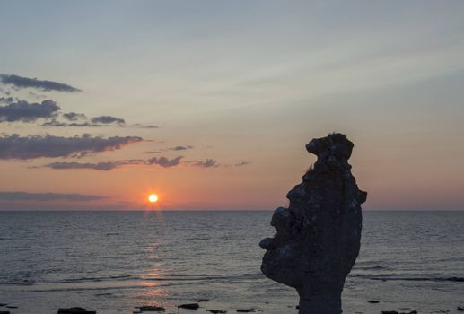 Sea Stacks at Langhammar, Gotland in Sweden at sunset.