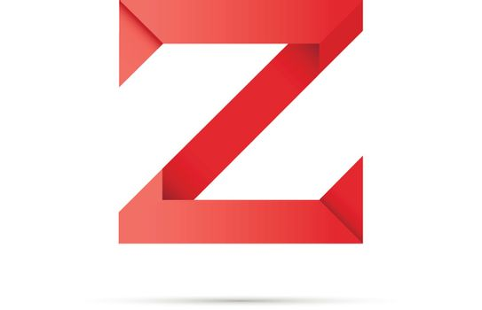 Z letter made of colored paper origami